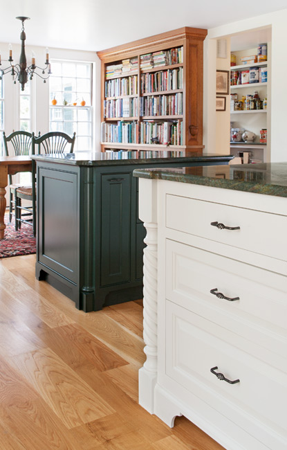 White Painted Cabinets with Dark Green Granite