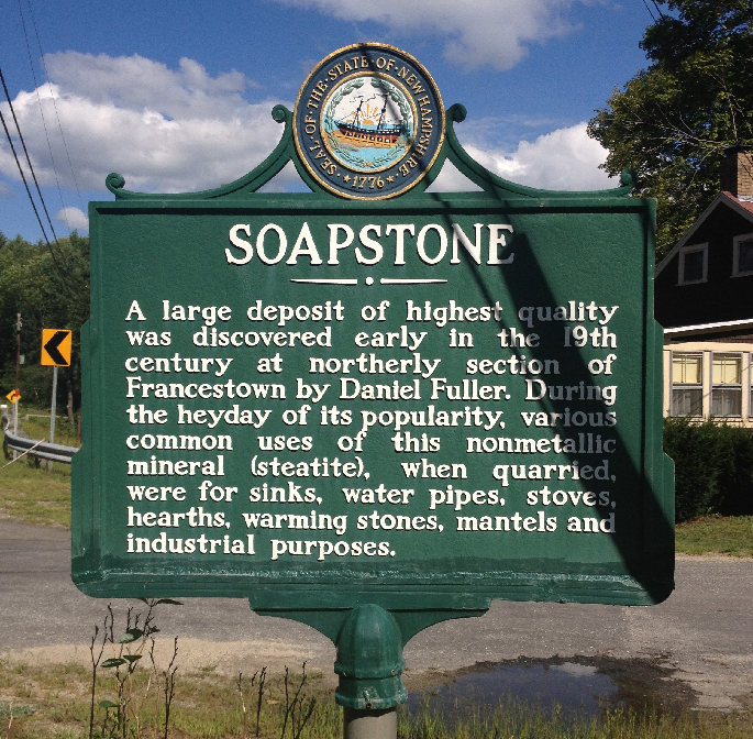 Soapstone sign from Francestown NH Soapstone Quarry in Francestown New Hampshire.