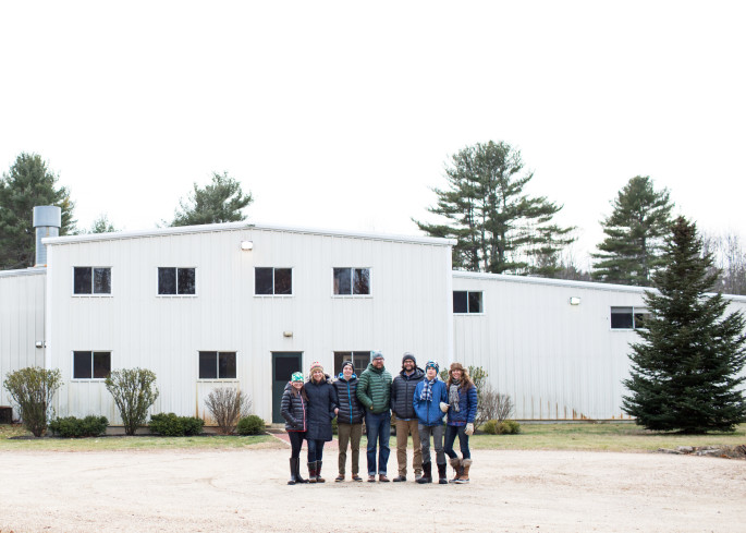 Mike and Matt with their families at the new JF York, ME cabinet shop.